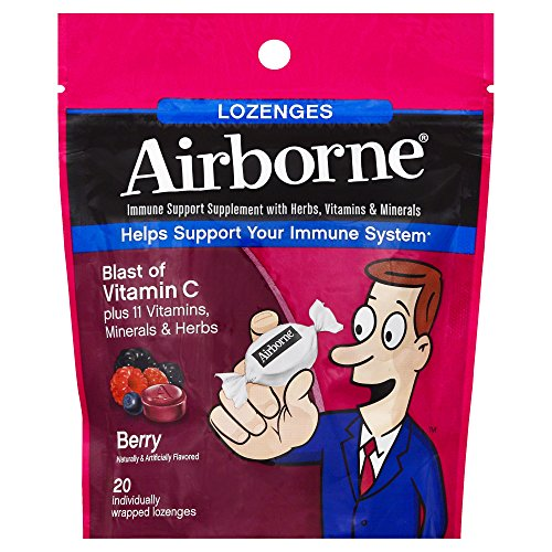 Airborne Vitamin C 1000mg Immune Support Supplement, Lozenges, Berry Flavor, 20 Count