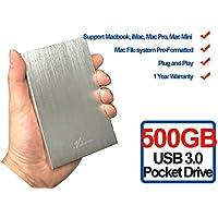 Avolusion HD250U3 500GB Ultra Slim SuperSpeed USB 3.0 Portable External Hard Drive (Mac OS Formatted) (Silver) - 2 Year Warranty