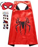 Superhero Costume and Dress Up for Kids - Satin Cape and Felt Mask (Spider -Man)