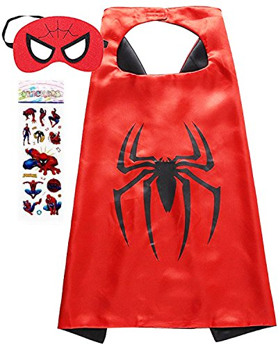Superhero Costume and Dress Up for Kids - Satin Cape and Felt Mask (Spider -Man) -