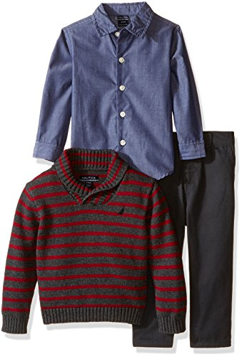 - Nautica Baby Three Piece Set with Woven Shirt, Striped Shawl Sweater, and Twill Pant, Coal Heather, 12 Months