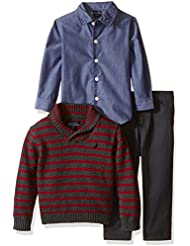 Nautica Baby Boys' Three Piece Set with Woven Shirt, Sweater, and Twill Pant
