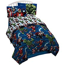Marvel Avengers Heroic Age Blue/White 3 Piece Twin Sheet Set with Captain America, Thor, Ironman & Hulk