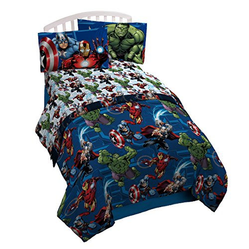 Marvel Avengers Heroic Age Blue/White 3 Piece Twin Sheet Set with Captain America, Thor, Ironman & Hulk by Marvel
