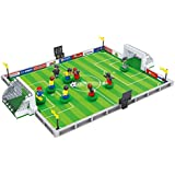 BRICK-LAND Sport Compatible Building Block Toy Set, 9 Soccer Players with Goal Nets and Soccer Field for Kids 6+, 251 Piece