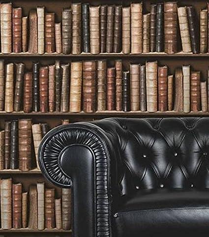 Brown F92338 3d Effect Bookcase Bookshelf Library Sculptured Vinyl Wallpaper