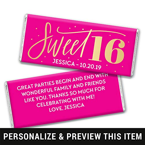 Sweet 16 Birthday Favors Personalized Chocolate Bar Wrappers - Silver Foil (25 Count)