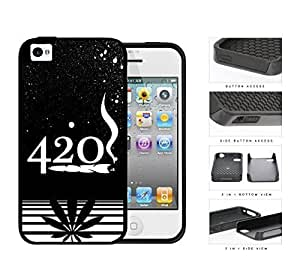 420 Weed Spray Painted Black and White Design Art 2-Piece High Impact Dual Layer Black Silicone Cell Phone Case iPhone 4 4s