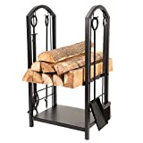 Firewood Log Rack,All-In-One Heavy Duty HearthFirewood Rack With Fireplace Tools Set, 18''Wide x 27.5''Tall Log Holder
