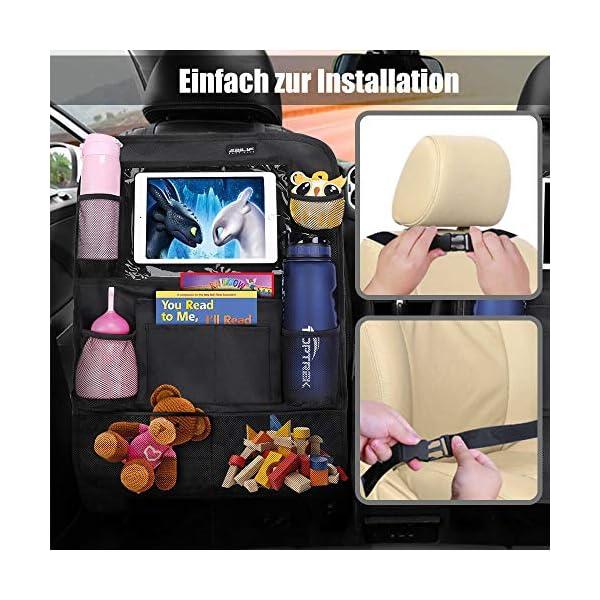 51zSy0U B8L Auto Rückenlehnenschutz Ezilif 2 Stück Groß Auto Rücksitz Organizer für Kinder, 600D Oxford Stoff Wasserdicht…