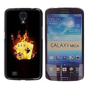 Slim Design Hard PC/Aluminum Shell Case Cover for Samsung Galaxy Mega 6.3 I9200 SGH-i527 Fire Flames Card Game Poker Casino Symbol / JUSTGO PHONE PROTECTOR