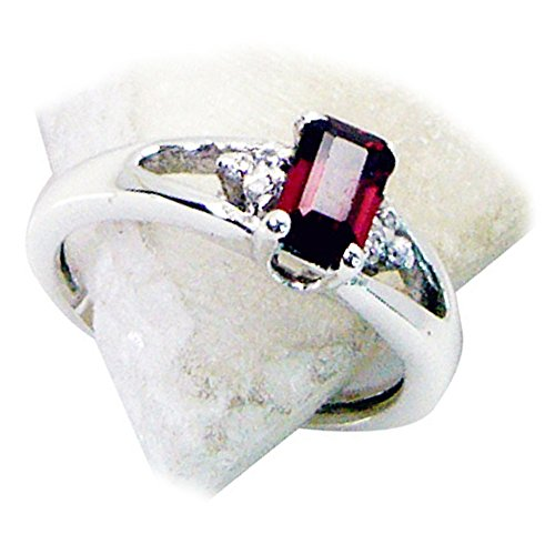 Genuine Garnet Silver Ring Split Shank Setting Baguette Stone Jewelry Avaliable Size 5,6,7,8,9,10,11,12 ()