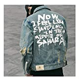 Hiuwa Womens Denim Jacket Couple Clothes Bomber Casual Jeans Coat Outerwear Blue M