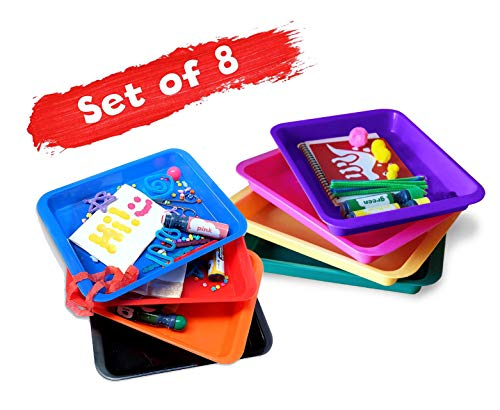 Set of 8 Kids Activity Plastic Tray - RAINBOWs Color - Art + Crafts Organizer Tray, Serving Tray, Great for Crafts, Beads, orbeez Water Beads, Painting and Montessori Work