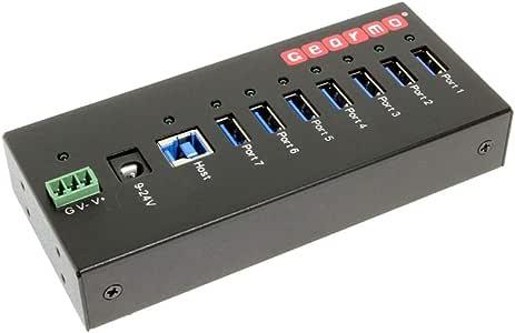 Gearmo USB 3.0 7 Port Industrial Metal Hub w/15KV ESD Protection & Mounting