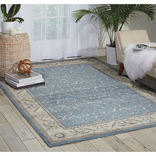 Nourison Somerset (ST02) Light Blue Rectangle Area Rug, 5-Feet 3-Inches by 7-Feet 5-Inches (5'3