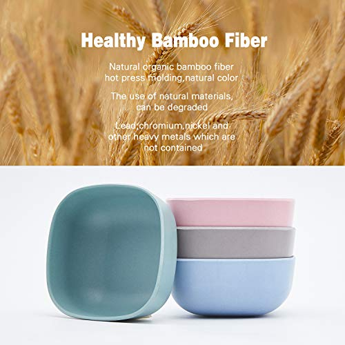 4pcs Bamboo Kids Bowls for Baby Feeding,Small Serving Bowls,Small Prep Bowls& Dinnerware Sets, Eco-Friendly Tableware for Baby Toddler Kids,03