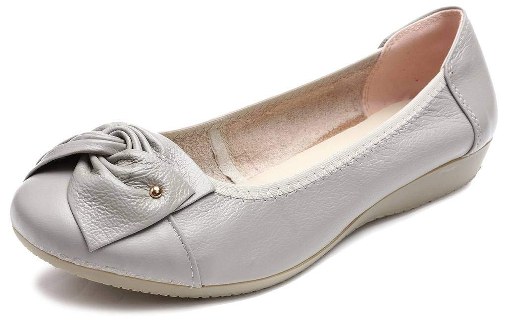 Fangsto Women's Genuine Leather Loafers Flats Working Shoes Slip Ons US Size 10 Grey