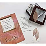 Smiling Wisdom - Rose Gold Real Leaf Friendship Necklace Gift Set - Reason Season Lifetime Friendship Greeting Card - Bohemian Statement Sweater Necklace - Her, Woman, True Best Friend - Pink Gold