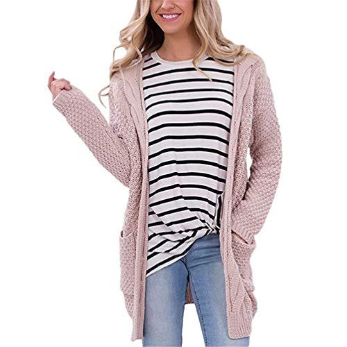 Giovane Donna Confortevole Giacca Moda Lunga Maglia A Elegante Cappotto Tasche Libero Pink Casual Cardigan Tempo Autunno Monocromo Anteriori Manica Maglioni Lunghi aqZvw5H