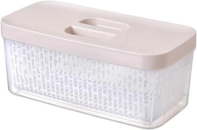HUOQILIN Refrigerador Desagüe Caja De Almacenamiento con Tapa De Plástico Caja De Alimentos Cocina Rectangular Fruta Sellado Caja De Almacenamiento Cesta De Verduras (Color : A): Amazon.es: Hogar