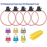ARTGEAR 5pcs 32V 20A Water-resistant Fuse Holder, 16 AWG ATO Blade Fuse Holder In-Line with a Cap, Standard Plug Socket with 6pcs Medium Blade Fuse