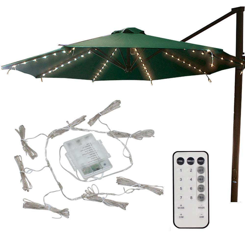 4.3Ft 8-Ribs Patio LED Umbrella String Lights 104 LEDs 8 Mode Battery Operated with Remote Control for Restaurant Coffee Shop Outdoor Garden Backyard Holidays Party (Warm White)