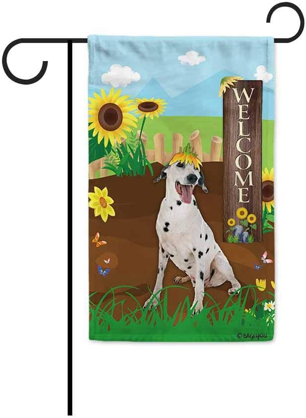 BAGEYOU Welcome Summer Sunflower Dog Garden Flag Dalmatian Dog Playing on a Country Farm Butterfly Flowers Decor Banner for Outside 12.5x18 Inch Print Double Sided