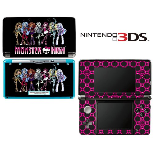 Monster High Ghoul Hot Pink Skull Decorative Video Game Decal Cover Skin Protector for Nintendo 3Ds (not 3DS XL) by Decals Plus