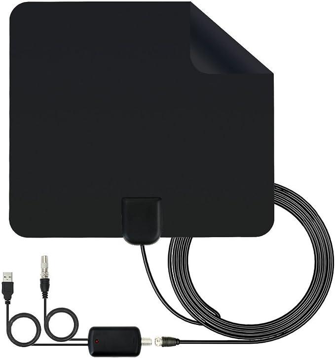 Antena de TV de interior, Lumar Antena de TV de TDT Digital HD amplificada Kit de rango de 50-80 millas Varón a macho Cable atenuador variable Caja de ...