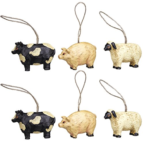 amazoncom mini farm animal ornaments set6 15 home kitchen - Animal Christmas Decorations