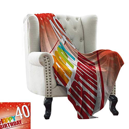 40th Birthday,Throw Blankets for Couch Party Invitation in Vibrant Colored Retro Style and on Bokeh Effect Backdrop 80