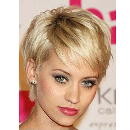 Kanuosi Short Hair Wigs Pixie Cut Blonde Natrual Straight Synthetic Wigs for Women with Side Bangs