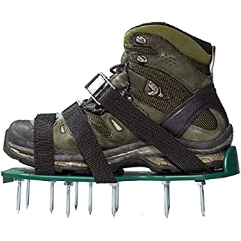 14e608c409fe6 Punchau Pre-Assembled Lawn Aerator Shoes with Metal Buckles and 3 Straps -  Heavy Duty Spiked Sandals for Aerating Your Lawn or Yard