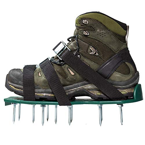 Punchau Lawn Aerator Shoes w/Metal Buckles and 3 Straps - Heavy Duty Spiked Sandals for Aerating Your Lawn or Yard - Buckle Strapped Platform