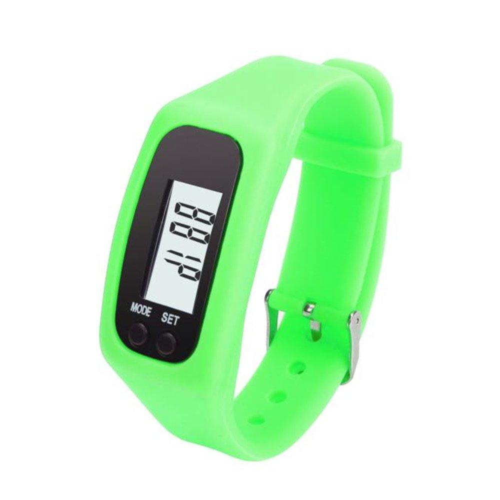 Digital LCD Pedometer Run Step Walking Distance Calorie Counter Watch Bracelet Water-Resistant Digital Watch for Men Women Bracelet Watch Waterproof Swimming Frozen Sports Watch Boys (Green)
