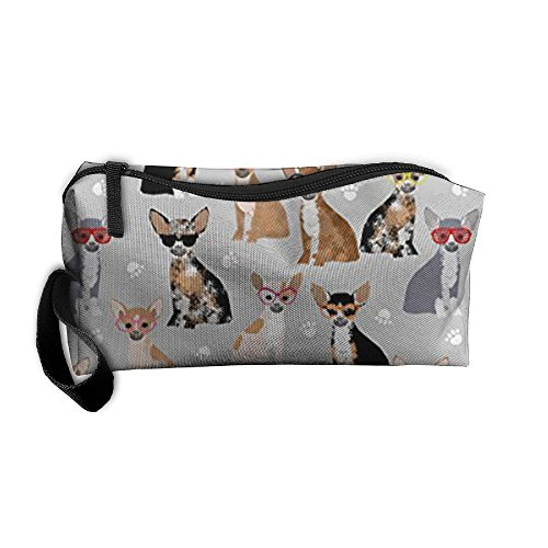 (Travel Makeup Chihuahua Dog Glasses Cosmetic Pouch Makeup Travel Bag Purse Holiday Gift For Women Or Girls )