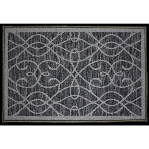 Kashi Home Normandy Collection Contemporary Geometric Inspired Decorative Accent Egyptian Area Rug, Grey, 20'' x 30'' by Kashi Home