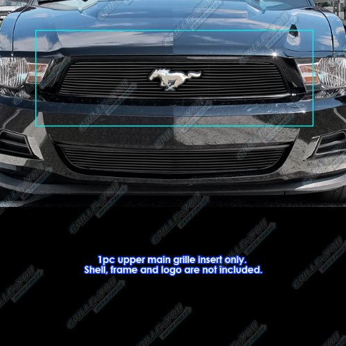 2011 Mustang Billet - APS Compatible with 2010-2012 Ford Mustang Black Billet Grille Insert with Logo Show V6 Only S18-H45666F