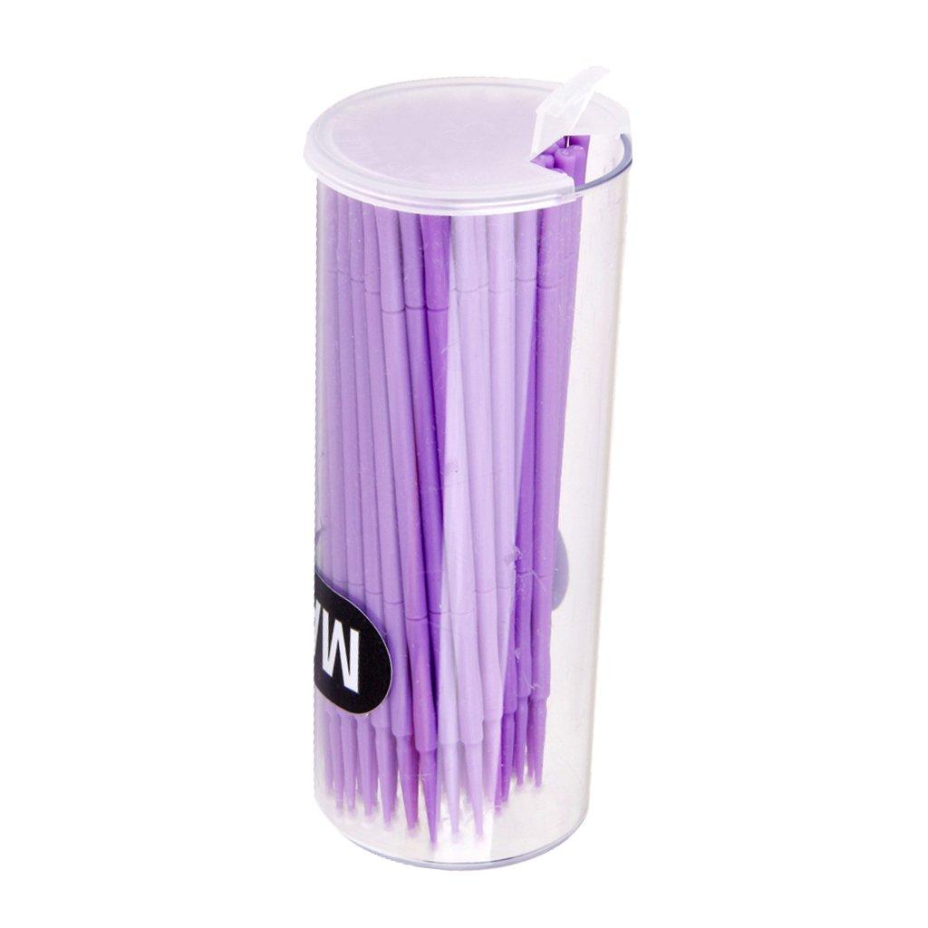 Violet 100pcs Coton-tige Brosse Micro Jetable D/émaquillage pour Extension de Cils de Mascara