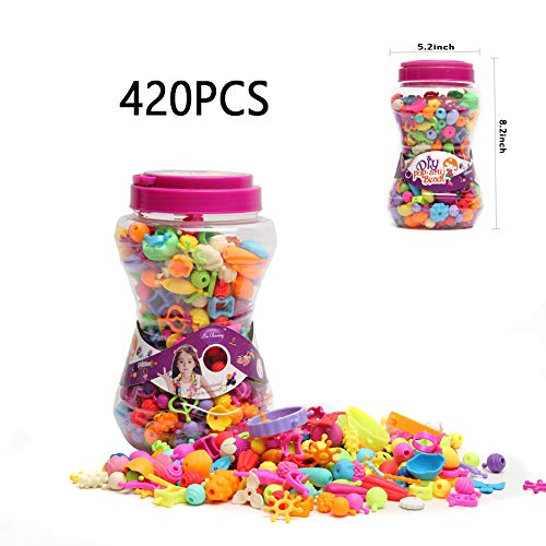 XM-YHX Pop Beads DIY Jewelry Making Kits for Girl Arts and Crafts Toys for Kids Pop Snap Beads for Hairband Necklace Bracelet Ring Creativity DIY Set (420PCS)