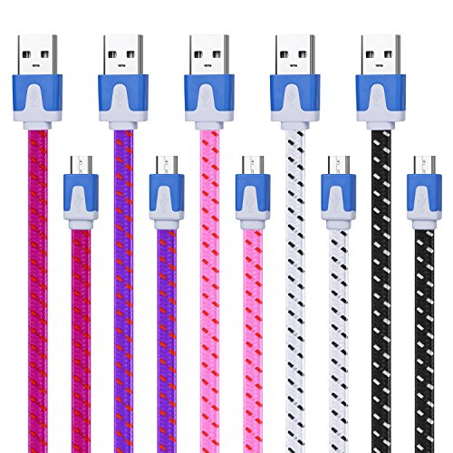 Magic-T [5-Pack] Premuim10ft Micro USB Cables High Speed USB 2.0 A Male to Micro B Sync and Charge Cables for Android, Samsung, HTC, Motorola, Nokia and More (Black&White&Rose&Purple&Pink)