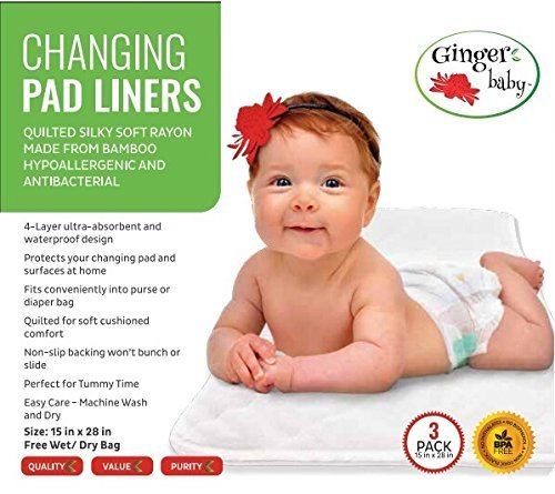 Changing Pad Liners, Waterproof 3 Pack X Large Premium Bamboo Rayon, Baby Diaper Changing Table Cover, Machine Washable, Dryer Friendly, Soft Quilted Hypoallergenic Portable, Free Wet Dry Bag by Ginger Baby