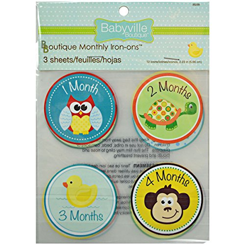 Babyville Boutique 12 Count Monthly Iron-Ons, Gender Neutral (Baby Iron Ons)