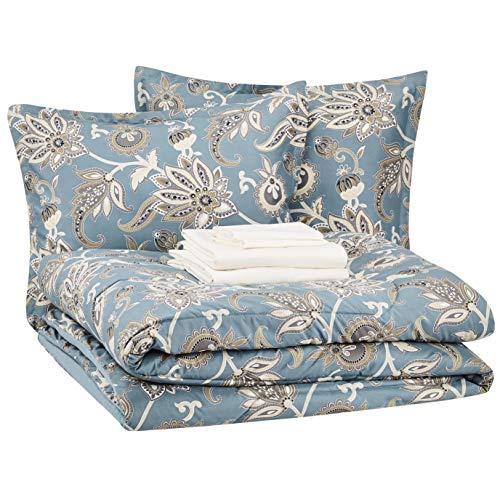 AmazonBasics 8-Piece Comforter Bedding Set, Full / Queen, Sea Foam Jacobean, Microfiber, Ultra-Soft