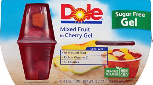 Dole Gel Bowls, Mixed Fruit in Cherry Gel