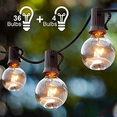 Guirnalda Luces Exterior, Guirnaldas Luminosas de Exterior y Interior 36 G40 con 4 Bombillas de Repuesto, Cadena Luces Decoracion para Habitación, Jardín, Bodas, Terraza, Césped, Balcón: Amazon.es: Iluminación