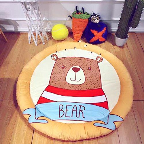 Haute Jungle Baby (Bear Cartoon Baby Rugs Round - 100% Cotton Rugs Baby Plush Children Game Rugs Anti-slip Rugs 59 x 59 Inch Orange)