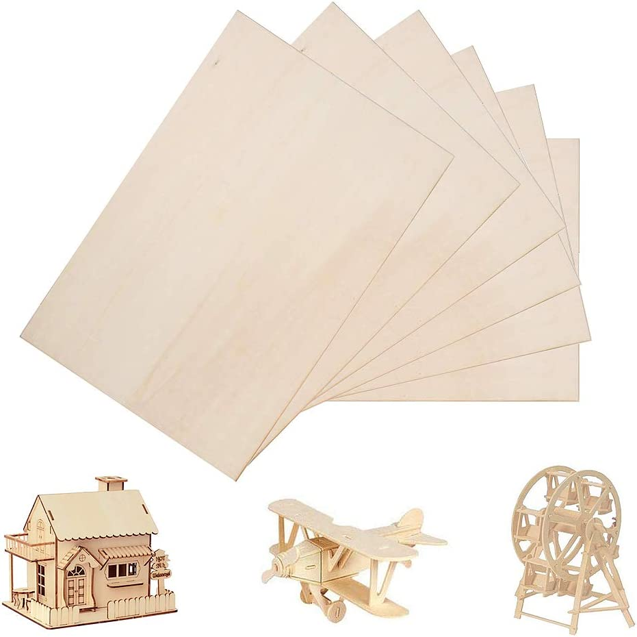 6 Pack Balsa Wood Sheets, Basswood Thin Wood Sheets Hobby Wood MDF DIY Wood Board for House Aircraft Ship Boat DIY Wooden Plate Model, for Arts and Crafts, School Projects 300x200x1.5mm