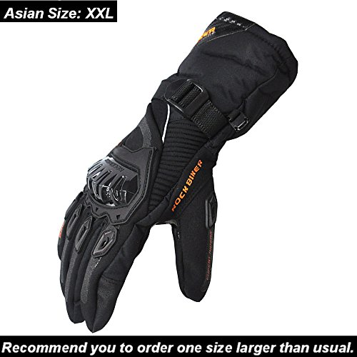 KEMIMOTO Winter Motorcycle Gloves Warm Touch Screen Gloves Waterproof Windproof (XX-Large, Black)